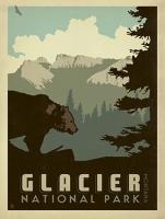 VINTAGE ADVERTISING GLACIER PARK MONTANA BEAR USA #JOEAND 116281