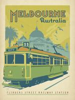 VINTAGE ADVERTISING FLINDERS STREET RAILWAY STATTION MELBOURNE TRAM AUSTRALIA #JOEAND 116753