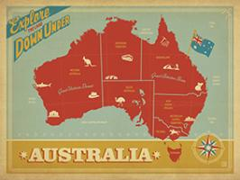 VINTAGE ADVERTISING AUSTRALIA MAP EXPLORE DOWN UNDER #JOEAND 116755