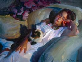 Young Girl with Cat #82197