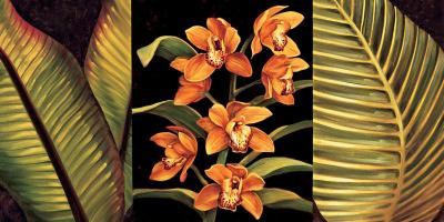 Orange Orchids and Palm Leaves #RDI4153