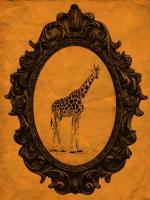 Framed Giraffe in Tangerine #89774