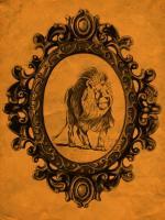 Framed Lion in Tangerine #89777