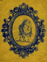 Framed Lion in Yellow #89779