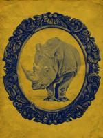 Framed Rhinoceros in Yellow #89782