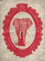 Framed Elephant in Crimson #89791