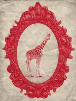 Framed Giraffe in Crimson #89797