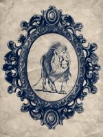 Framed Lion in Navy #89798
