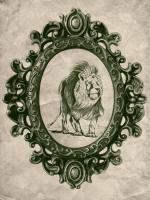 Framed Lion in Evergreen #89799