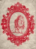 Framed Lion in Crimson #89800