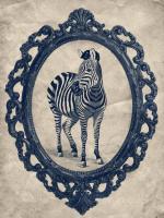 Framed Zebra in Navy #89804