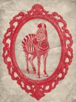 Framed Zebra in Crimson #89806