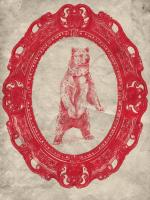 Framed Grizzly Bear in Crimson #89830