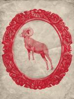 Framed Bighorn Sheep in Crimson #89833