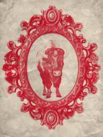 Framed Bison in Crimson #89836