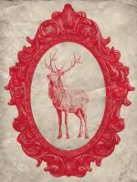 Framed Elk in Crimson #89839