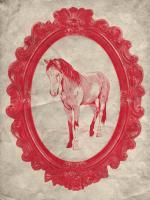 Framed Paint Horse in Crimson #89842