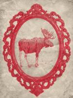 Framed Moose in Crimson #89845