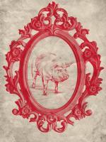 Framed Pig in Crimson #89848